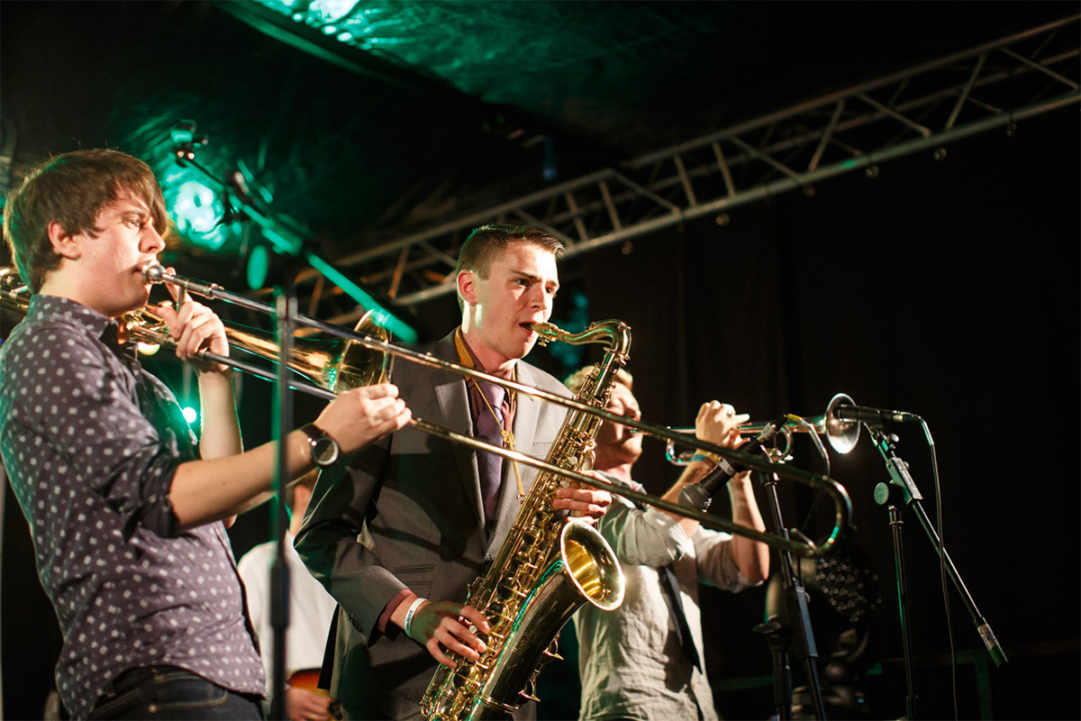 Brass section performing live