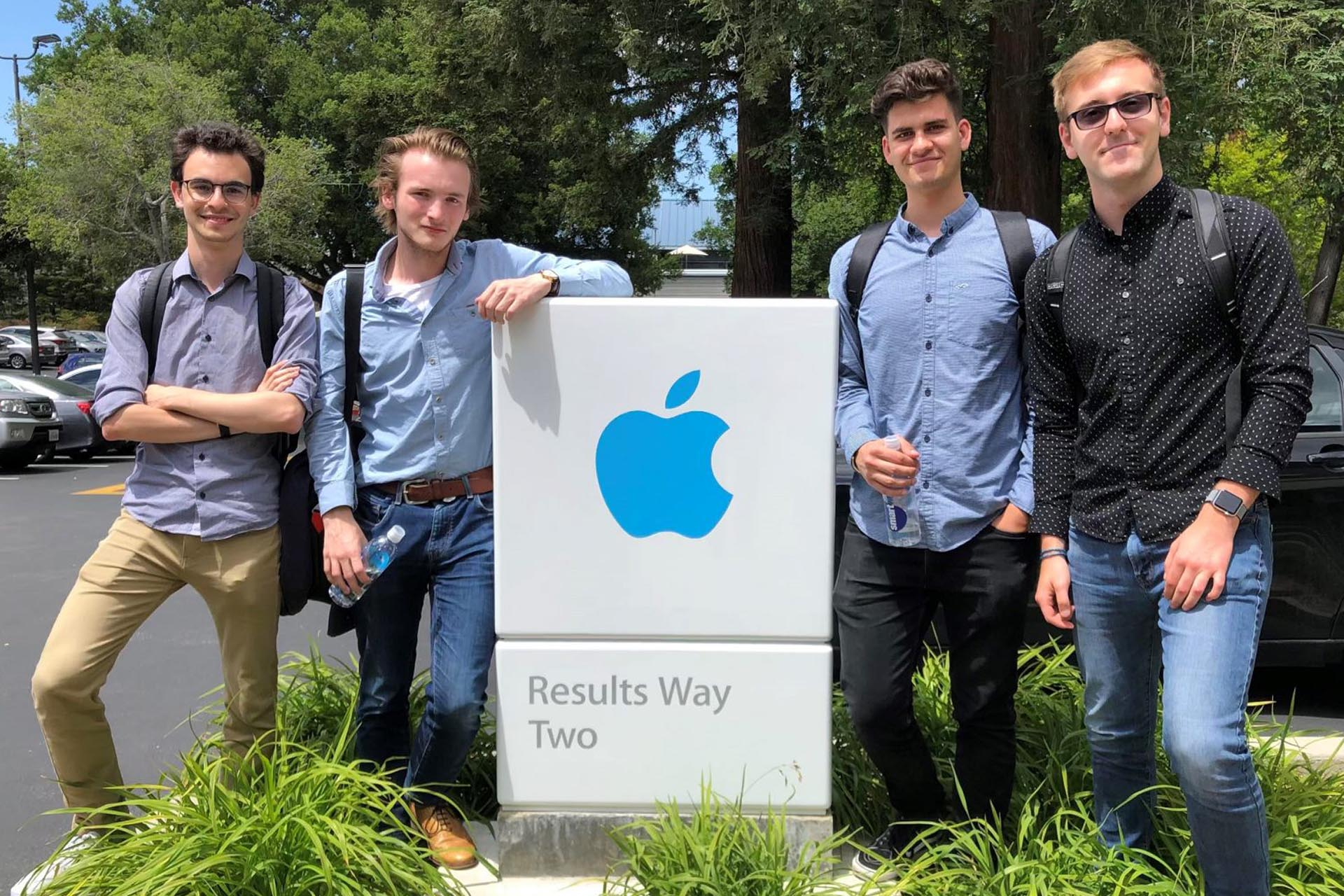 Four Kent students at the Apple HQ