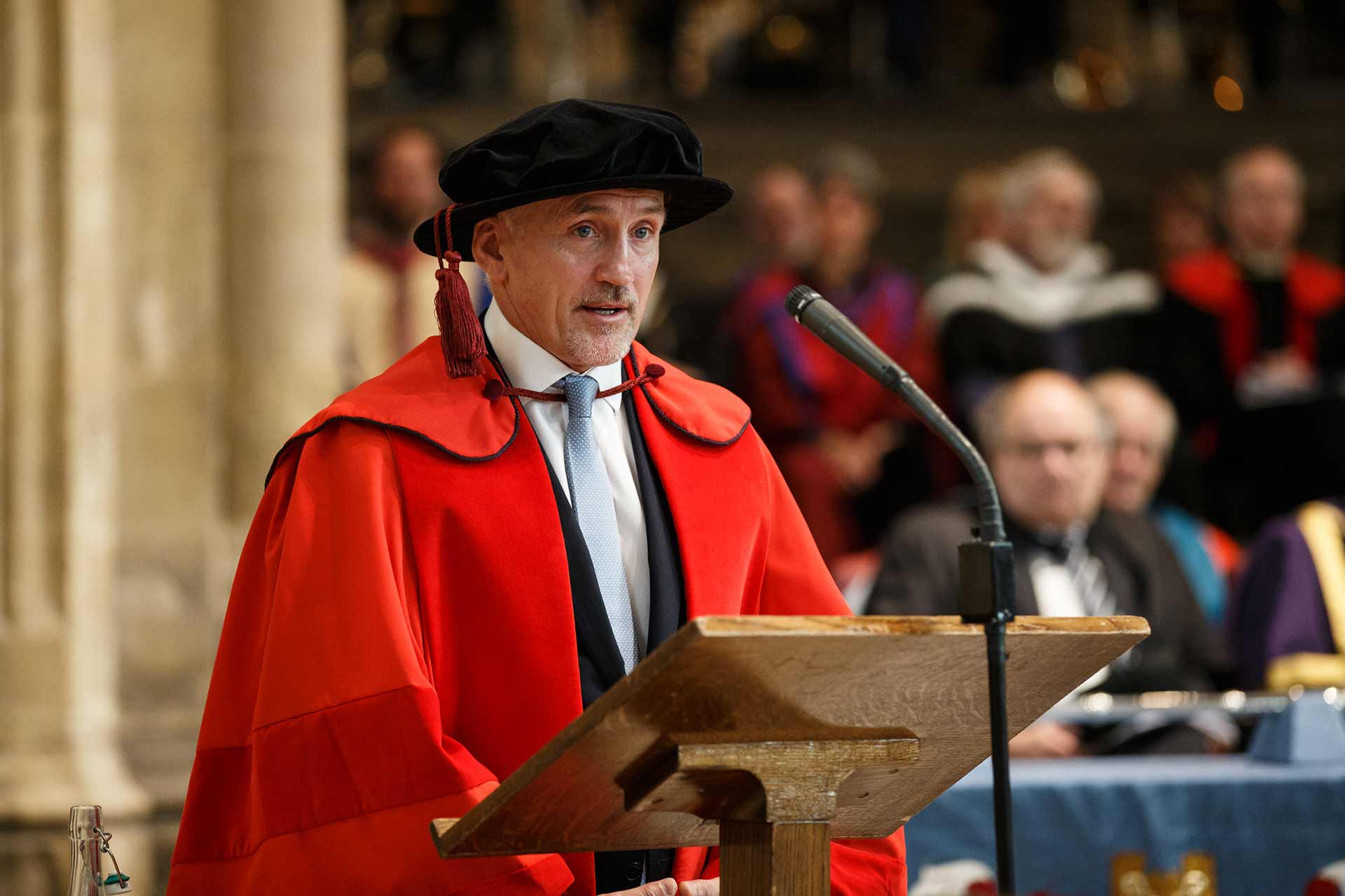 Barry McGuigan speaking at ceremony for honorary doctorate