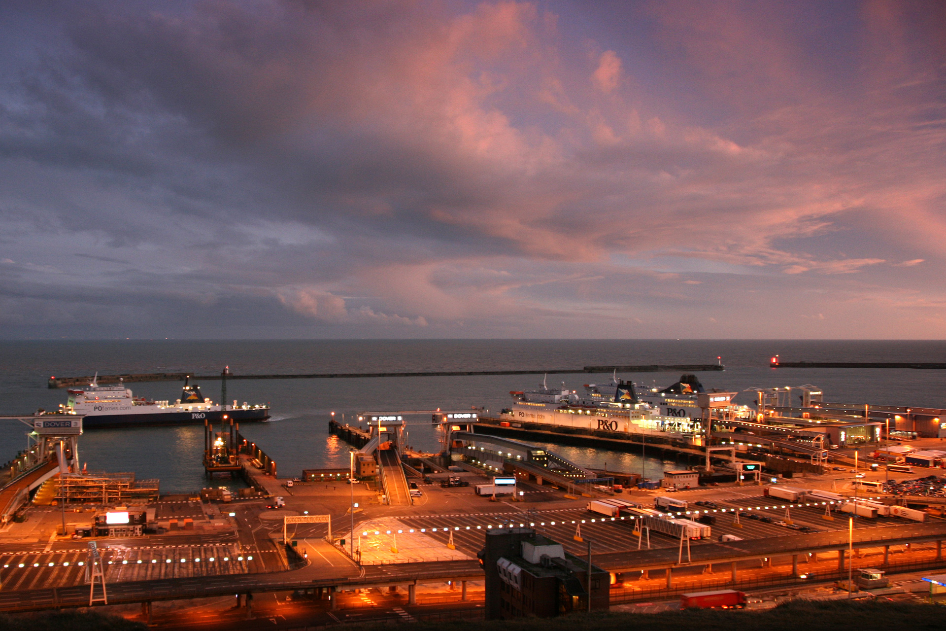 Dover port at night
