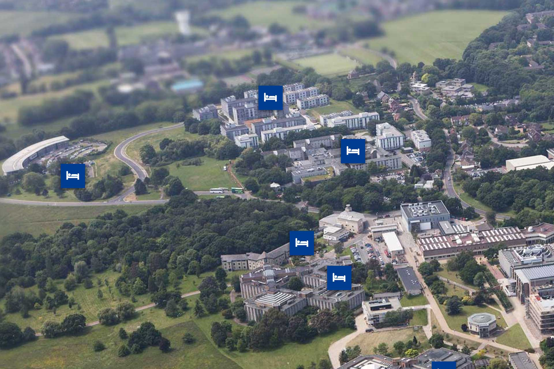 An aerial photo of the University of Kent Canterbury campus