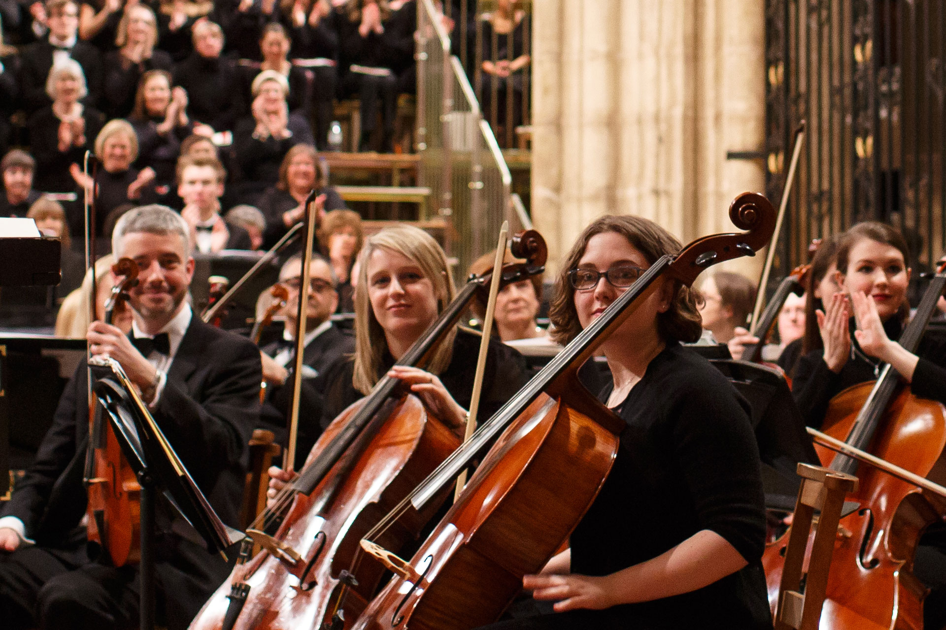 Members of the University of Kent Symphony Orchestra in Canterbury Cathedral