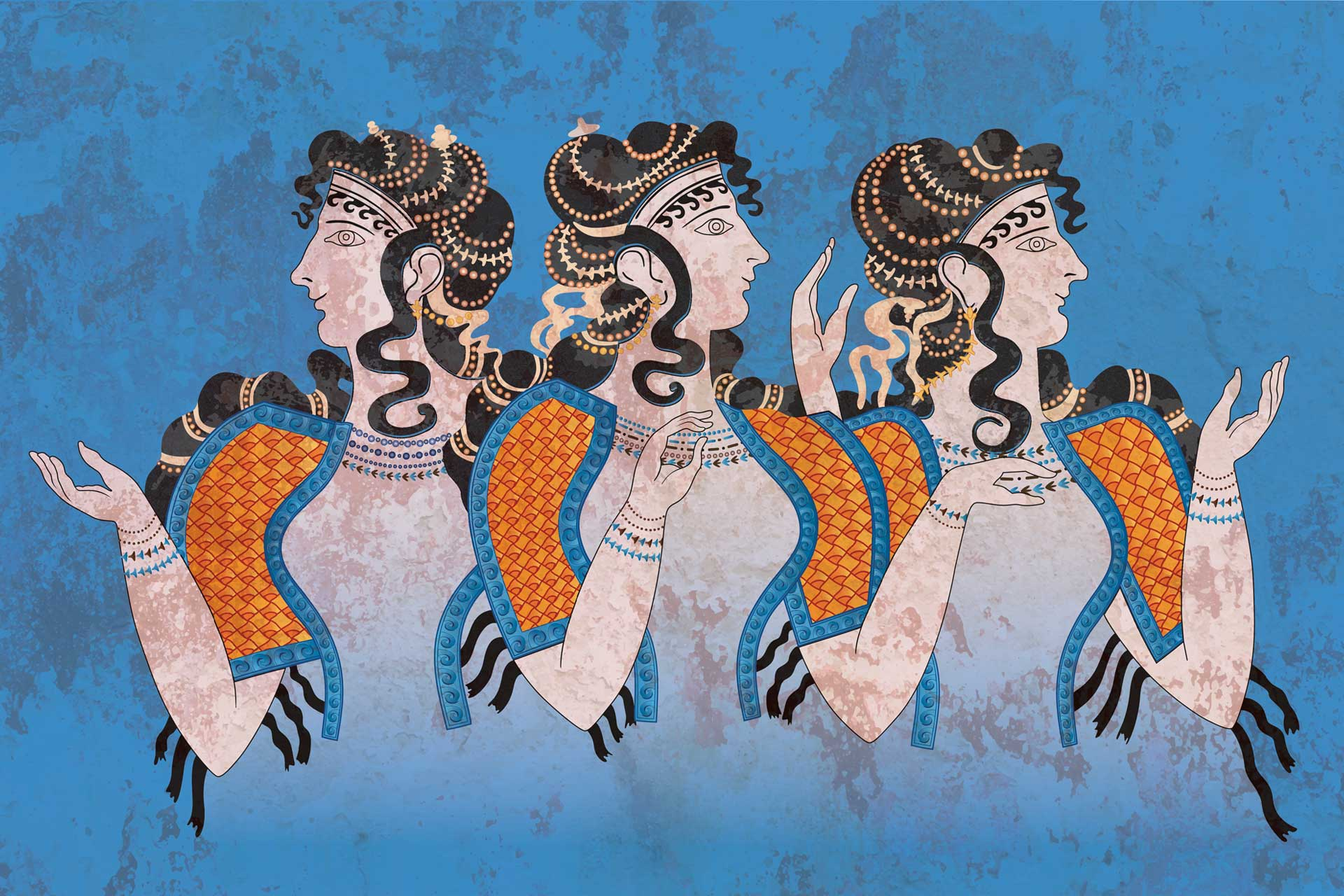 Fresco of Three Minoan Women Knossos