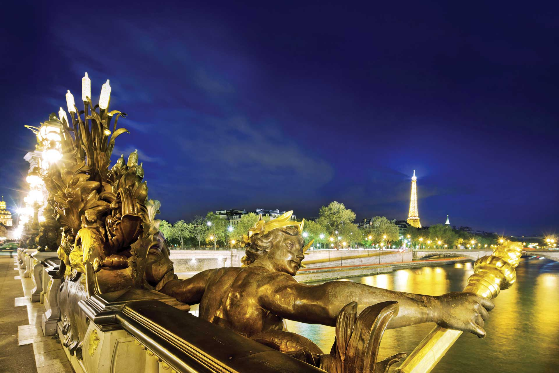 View of the Eiffel Tower over the Seine River