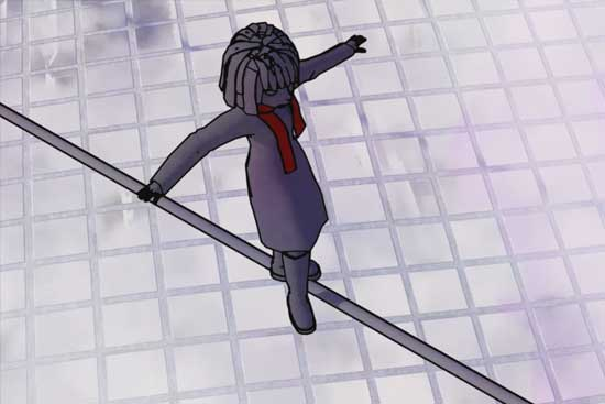 Graphic of a girl tigh-rope walking