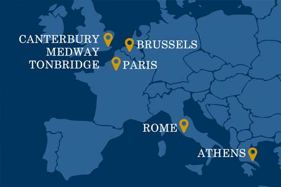 Map showing Kent locations in Canterbury, Medway, Tonbridge, Paris, Brussels, Rome and Athens